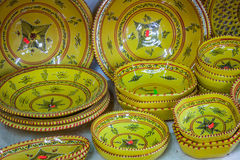 Decorative plates on a typical bazaar in Tunisia, Africa Stock Photos