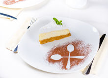 Decorative plating and presentation of cheesecake Stock Images
