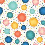Decorative pom poms and sprinkles seamless repeat royalty free illustration