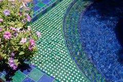Decorative pond in the garden stock photo