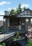 Decorative Pond and Garden Pavilion, 3D Rendering. Three dimensional illustration of homestead landscaping Royalty Free Stock Images