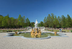 Decorative pond with greek sculptures Stock Image