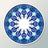 Decorative porcelain plate with round ethnic ornament. Mandala in blue colors. Interior decoration. Vector illustration vector illustration