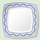 Decorative porcelain square dishes with blue ethnic pattern in the style of ethnic painting on porcelain. Vector illustration royalty free illustration