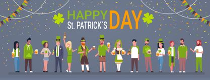 Decorative Poster For Happy Saint Patrick Day Horizontal Banner With Group Of People In Traditional Irish Clothes. Drinking Beer Flat Vector Illustration royalty free illustration