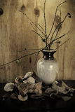 Decorative pot arrangement. A still life arrangement with a pot containing twigs, a basket with items and a decorative cloth in front of a wood plank background Royalty Free Stock Image