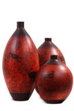 Decorative pots. Cave art hand painted terracotta pottery Stock Photography