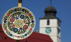 Decorative pottery plate stock image