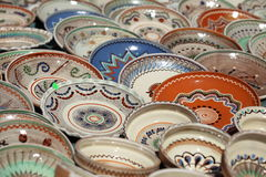 Decorative pottery plates Royalty Free Stock Photos
