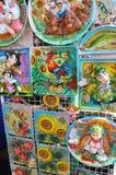 Decorative pottery on showcase. Decorative ukrainian folk pottery on showcase on Sorochintsy Fair in Velyki Sorochyntsi, Ukraine Royalty Free Stock Image