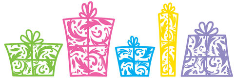 Decorative presents. Illustration of presents in a row Stock Images