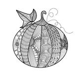 Decorative pumpkin with a beautiful pattern. Printing on T-shirts, banners, posters, cover. Doodles art. Coloring page book for adults and children vector illustration