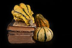 Decorative pumpkin and books on a dark table. Old publications and separate vegetables