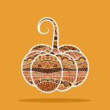 Decorative Pumpkin. Isolated design element with ethnic pattern. Ornate pumpkin label. Autumn harvest decorative object for card or menu. (Vector file is EPS8 royalty free illustration