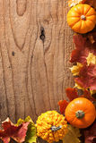 Decorative pumpkins and autumn leaves halloween background Royalty Free Stock Photography
