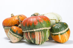 Decorative pumpkins. A group of colorful decorative pumpkins on white background Stock Photo