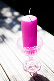 Decorative purple candle Royalty Free Stock Photos