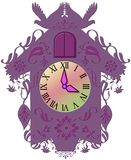 Decorative purple clock Stock Images