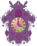 Decorative purple clock Stock Images