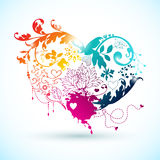 Decorative rainbow heart with floral elements. Stock Photos