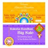 Decorative rakhi for Raksha Bandhan sale promotion banner Royalty Free Stock Images