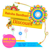 Decorative rakhi for Raksha Bandhan sale promotion banner Royalty Free Stock Photography