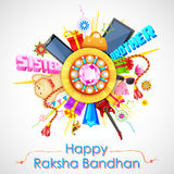 Decorative rakhi for Raksha Bandhan sale promotion banner Stock Image