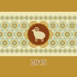 Decorative ram New Year card. Christmas vector illustration
