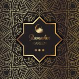 Decorative Ramadan Kareem background. Decorative background for Ramadan Kareem with elegant gold pattern Stock Photo