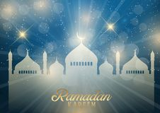 Decorative Ramadan Kareem background with mosque silhouettes Royalty Free Stock Photography
