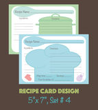 Decorative recipe cards set, recipe cards design Royalty Free Stock Photo