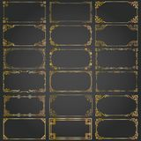 Decorative rectangle frames and borders set vector gold Royalty Free Stock Photos