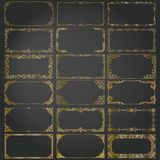 Decorative rectangle frames and borders set vector gold Stock Photo