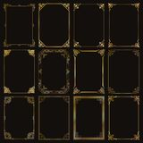 Decorative rectangle gold frames and borders set vector Stock Images