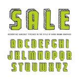 Decorative rectangular sanserif bulk font Royalty Free Stock Images