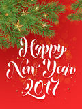 Decorative red background with ornaments Happy New Year greeting card. Happy New Year text calligraphy lettering on decorative red background with golden Stock Photo