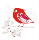Decorative red bird Royalty Free Stock Image