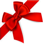 Decorative red bow with diagonally ribbon on the corner Royalty Free Stock Images