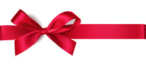 Decorative red bow with horizontal ribbon Stock Photos