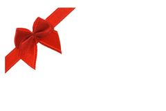 Decorative red bow ribbon Stock Images