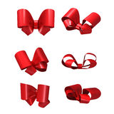 Decorative red bows isolated on white background Royalty Free Stock Photography