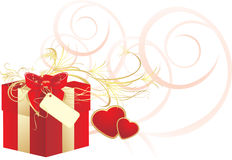 Decorative red box with bow and hearts Stock Photography