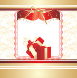 Decorative Red Box With Bow. Background For Card Stock Photo