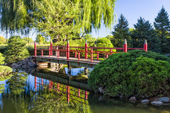 Decorative Red Bridge. Over Placid Pond with Asian Features Royalty Free Stock Images