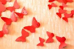 Decorative red butterflies Stock Photos