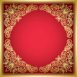 Decorative vector red card with golden frame Stock Photography