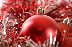 Decorative red Christmas balls and red ribbon Stock Images