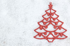 Decorative red Christmas tree. Royalty Free Stock Photo