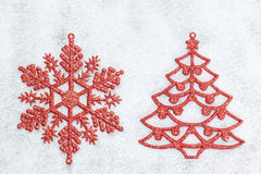 Decorative red Christmas tree and snowflake. Stock Images