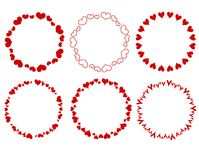 Decorative Red Circle Hearts Borders. A clip art illustration of your choice of 6 decorative hearts as round borders isolated on white Royalty Free Stock Photos